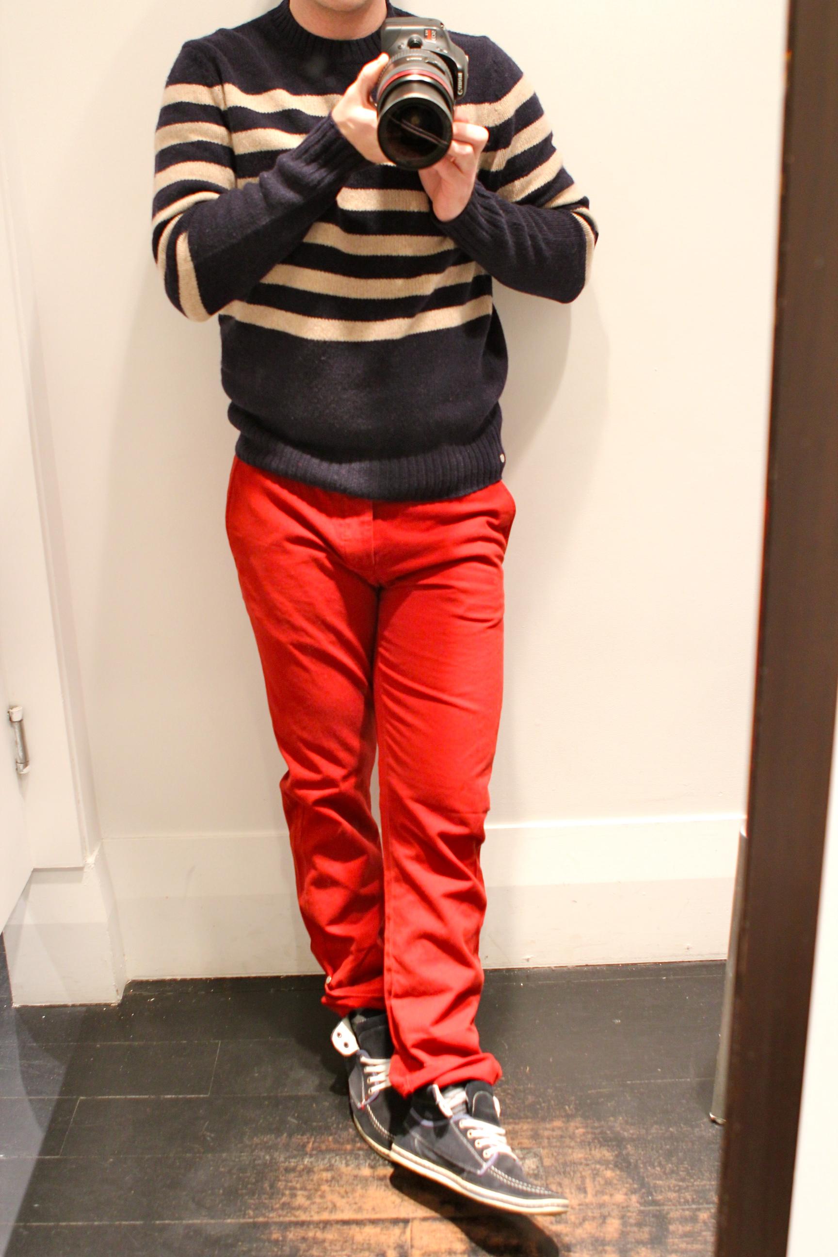 Red Pants + Blue Striped Sweater = Club Monaco Fun